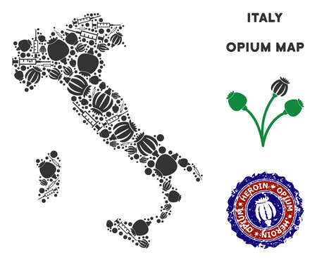 Opium addiction Italy map mosaic of poppy heads and syringes. Concept for narcotic addiction campaign against heroin dependence. Vector Italy map is shaped of opium poppyheads and injection needles.