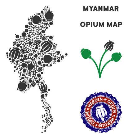 Dépendance à l'opium Myanmar map mosaïque de têtes de pavot et de seringues. Modèle de campagne de lutte contre la dépendance aux stupéfiants contre la dépendance à l'héroïne. Vecteurs