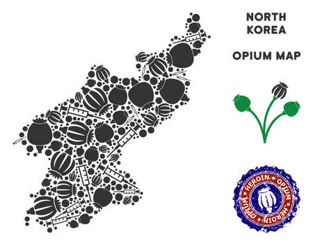 Opium addiction North Korea map composition of poppy heads and syringes. Template for narcotic addiction campaign against heroin dependence. Иллюстрация