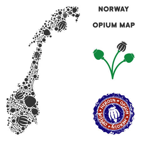 Opium addiction Norway map mosaic of poppy heads and syringes. Template for narcotic addiction campaign against heroin dependence. Vector Norway map is made of opium poppyheads and injection needles.