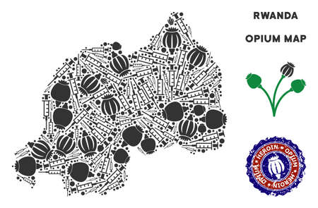 Opium addiction Rwanda map mosaic of poppy heads and syringes. Template for narcotic addiction campaign against heroin dependence.