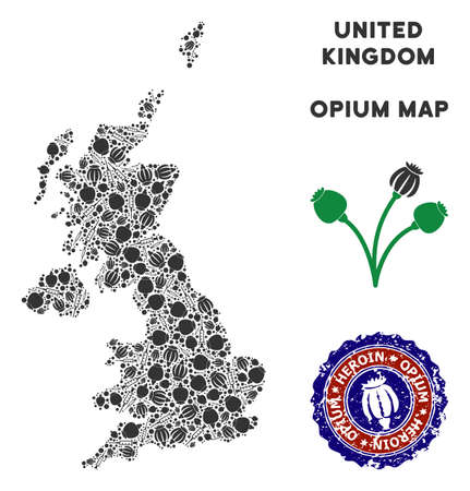 Opium addiction United Kingdom map composition of poppy heads and syringes. Template for narcotic addiction campaign against heroin dependence. Illustration