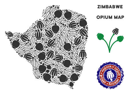 Opium addiction Zimbabwe map mosaic of poppy heads and syringes. Concept for narcotic addiction campaign against heroin dependence. Illustration