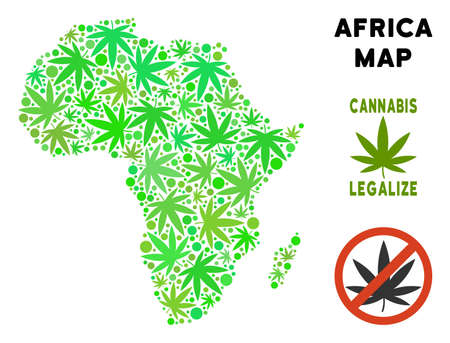 Royalty free cannabis Africa map mosaic of weed leaves. Concept for narcotic addiction campaign against drugs dependence or cannabis legalize. Illustration
