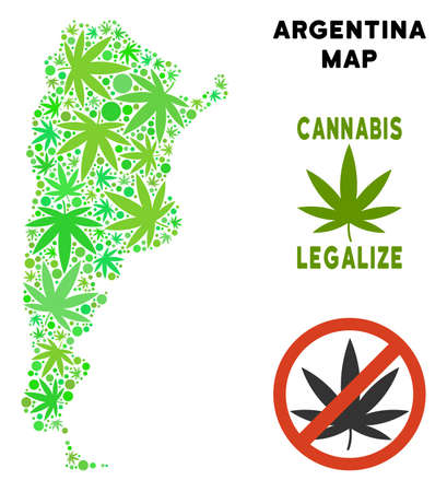 Royalty free cannabis Argentina map collage of weed leaves. Concept for narcotic addiction campaign against drugs dependence or cannabis legalize.