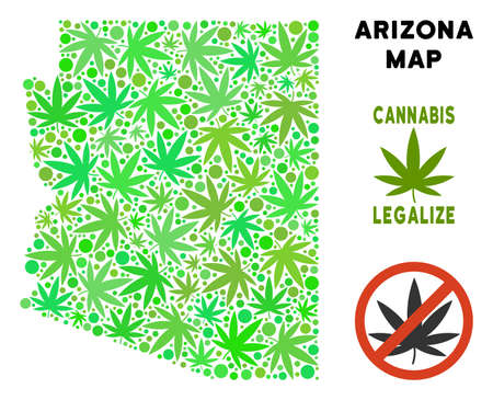 Royalty free cannabis Arizona State map collage of weed leaves. Template for narcotic addiction campaign against drugs dependence or cannabis legalize.