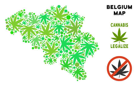 Royalty free cannabis Belgium map collage of weed leaves. Template for narcotic addiction campaign against drugs dependence or cannabis legalize. Illustration