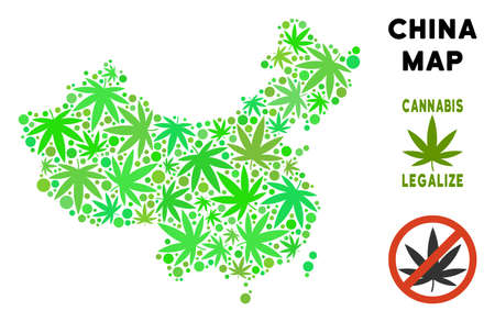 Royalty free marijuana China map composition of weed leaves. Concept for narcotic addiction campaign against drugs dependence or cannabis legalize.