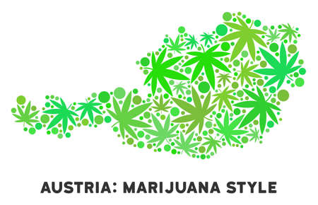 Royalty free cannabis Austria map composition of weed leaves. Concept for narcotic addiction campaign against drugs dependence or cannabis legalize.