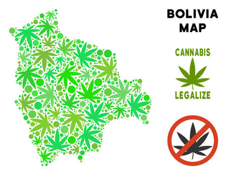 Royalty free cannabis Bolivia map collage of weed leaves. Template for narcotic addiction campaign against drugs dependence or cannabis legalize.