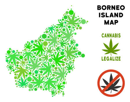 Royalty free cannabis Borneo Island map composition of weed leaves. Template for narcotic addiction campaign against drugs dependence or cannabis legalize.