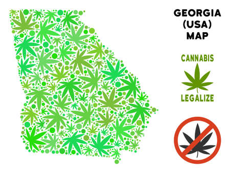 Royalty free cannabis American State Georgia map composition of weed leaves. Concept for narcotic addiction campaign against drugs dependence or cannabis legalize.