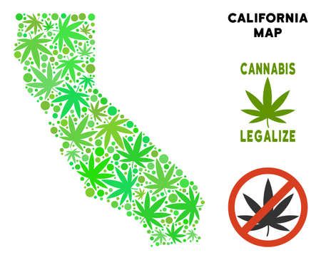 Royalty free cannabis California map composition of weed leaves. Template for narcotic addiction campaign against drugs dependence or cannabis legalize.
