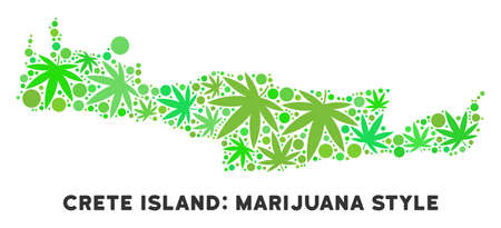 Royalty free cannabis Crete Island map mosaic of weed leaves. Concept for narcotic addiction campaign against drugs dependence or cannabis legalize.
