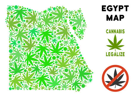 Royalty free cannabis Egypt map composition of weed leaves. Concept for narcotic addiction campaign against drugs dependence or cannabis legalize.
