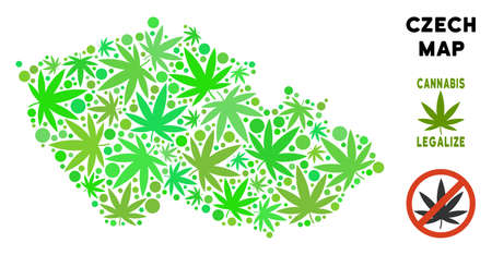 Royalty free cannabis Czech map mosaic of weed leaves. Concept for narcotic addiction campaign against drugs dependence or cannabis legalize.