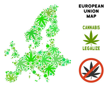 Royalty free cannabis European Union map composition of weed leaves. Template for narcotic addiction campaign against drugs dependence or cannabis legalize. Illustration
