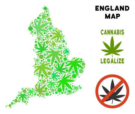 Royalty free cannabis England map composition of weed leaves. Template for narcotic addiction campaign against drugs dependence or cannabis legalize.