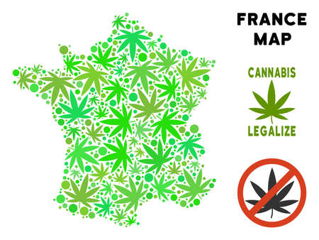 Royalty free marijuana France map composition of weed leaves. Template for narcotic addiction campaign against drugs dependence or cannabis legalize.