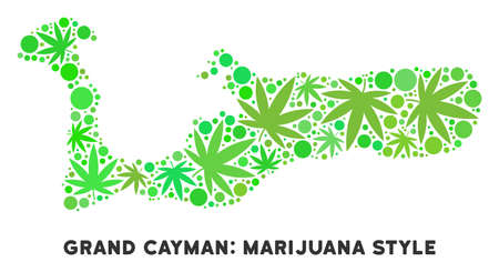 Royalty free marijuana Grand Cayman Island map collage of weed leaves. Concept for narcotic addiction campaign against drugs dependence or cannabis legalize. Illustration