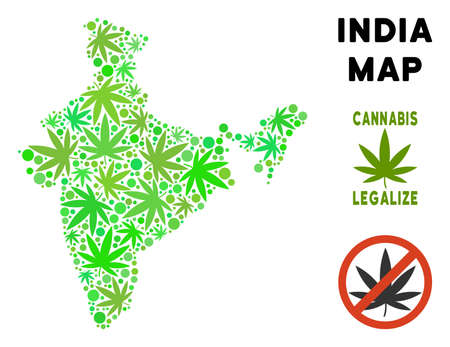 Royalty free marijuana India map mosaic of weed leaves. Concept for narcotic addiction campaign against drugs dependence or cannabis legalize. Illustration