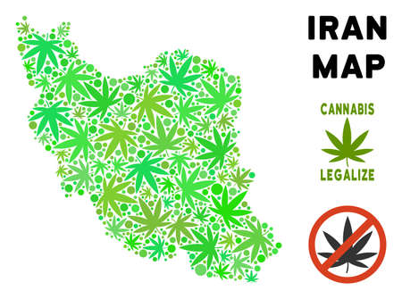 Royalty free cannabis Iran map mosaic of weed leaves. Concept for narcotic addiction campaign against drugs dependence or cannabis legalize. Ilustrace