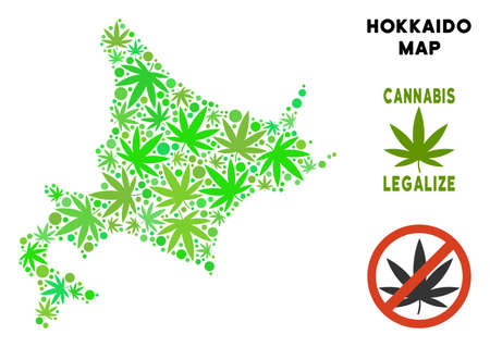 Royalty free cannabis Hokkaido Island map mosaic of weed leaves. Template for narcotic addiction campaign against drugs dependence or cannabis legalize.