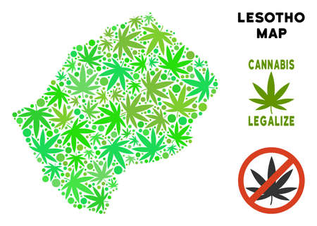 Royalty free cannabis Lesotho map collage of weed leaves. Template for narcotic addiction campaign against drugs dependence or cannabis legalize. Illustration