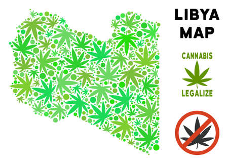 Royalty free cannabis Libya map mosaic of weed leaves. Template for narcotic addiction campaign against drugs dependence or cannabis legalize.