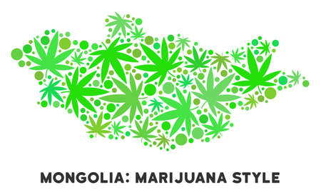 Royalty free cannabis Mongolia map mosaic of weed leaves. Concept for narcotic addiction campaign against drugs dependence or cannabis legalize.