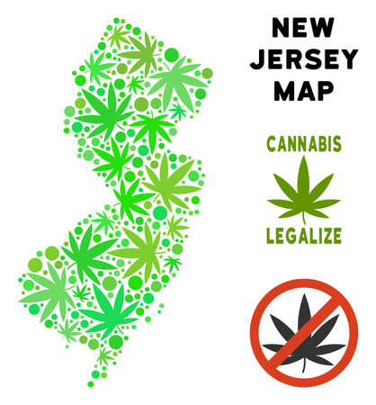 Royalty free cannabis New Jersey State map composition of weed leaves. Concept for narcotic addiction campaign against drugs dependence or cannabis legalize.