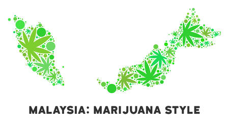 Royalty free cannabis Malaysia map composition of weed leaves. Concept for narcotic addiction campaign against drugs dependence or cannabis legalize. Vettoriali