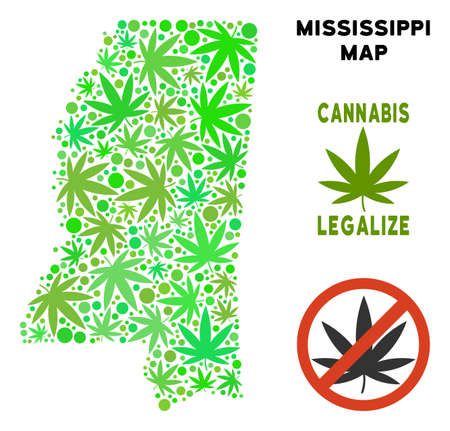 Royalty free cannabis Mississippi State map mosaic of weed leaves. Template for narcotic addiction campaign against drugs dependence or cannabis legalize. Illustration