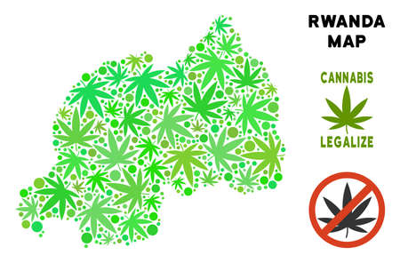 Royalty free cannabis Rwanda map mosaic of weed leaves. Concept for narcotic addiction campaign against drugs dependence or cannabis legalize.