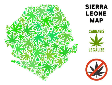 Royalty free cannabis Sierra Leone map composition of weed leaves. Concept for narcotic addiction campaign against drugs dependence or cannabis legalize.