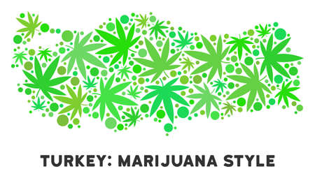 Royalty free cannabis Turkey map mosaic of weed leaves. Template for narcotic addiction campaign against drugs dependence or cannabis legalize.