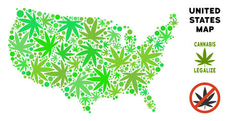 Royalty free marijuana USA map mosaic of weed leaves. Concept for narcotic addiction campaign against drugs dependence or cannabis legalize.