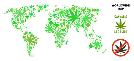 Royalty free cannabis world map composition of weed leaves. Concept for narcotic addiction campaign against drugs dependence or cannabis legalize.