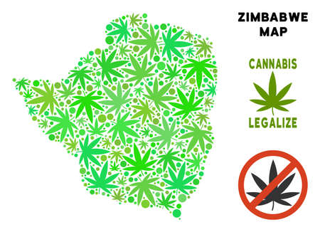 Royalty free cannabis Zimbabwe map collage of weed leaves. Template for narcotic addiction campaign against drugs dependence or cannabis legalize.