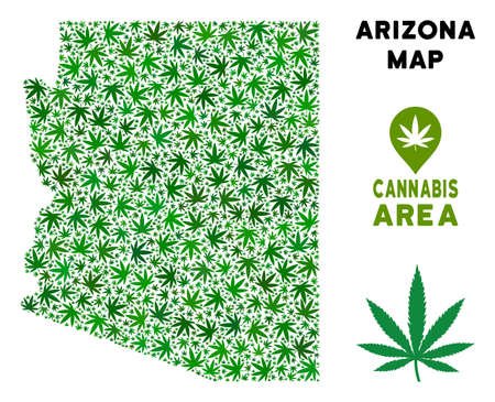 Ganja Arizona State map collage of marijuana leaves. Narcotic dependence template. Vector Arizona State map is done of green ganja leaves. Abstract territorial plan in green color tinges.