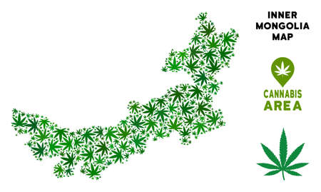 Cannabis Chinese Inner Mongolia map mosaic of marijuana leaves. Narcotic distribution template. Vector Chinese Inner Mongolia map is done from green cannabis leaves.