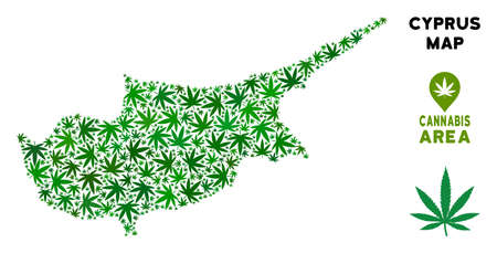 Ganja Cyprus Island map collage of marijuana leaves. Narcotic distribution concept. Vector Cyprus Island map is shaped of green cannabis leaves. Abstract territorial scheme in green color hues.