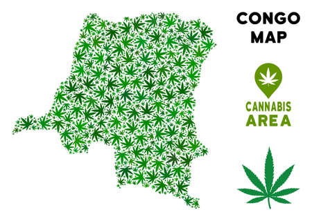 Ganja Democratic Republic of the Congo map composition of marijuana leaves. Narcotic addiction concept. Vector Democratic Republic of the Congo map is created with green ganja leaves. Illustration
