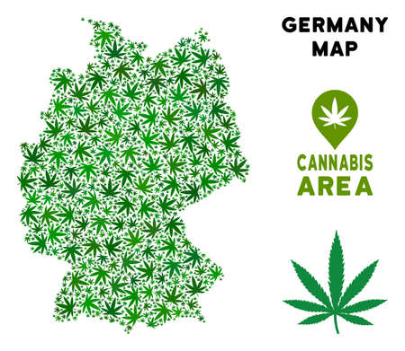 Ganja Germany map collage of marijuana leaves. Narcotic distribution template. Vector Germany map is done of green ganja leaves. Abstract geographic plan in green color shades.