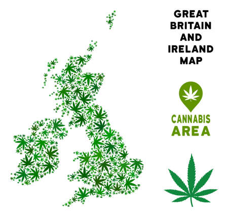 Ganja Great Britain and Ireland map composition of marijuana leaves. Narcotic distribution template. Vector Great Britain and Ireland map is created from green ganja leaves.