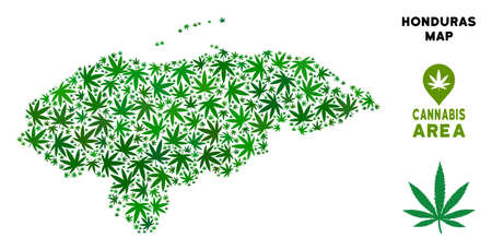 Ganja Honduras map collage of marijuana leaves. Narcotic distribution template. Vector Honduras map is constructed of green ganja leaves. Abstract geographic plan in green color hues.