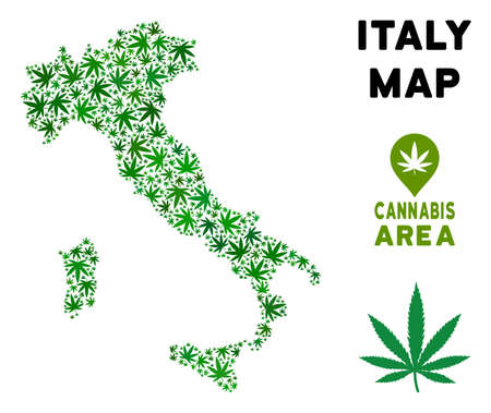 Weed Italy map mosaic of marijuana leaves. Narcotic addiction concept. Vector Italy map is organized of green herbal leaves. Abstract territorial scheme in green color variations. Фото со стока - 103663031