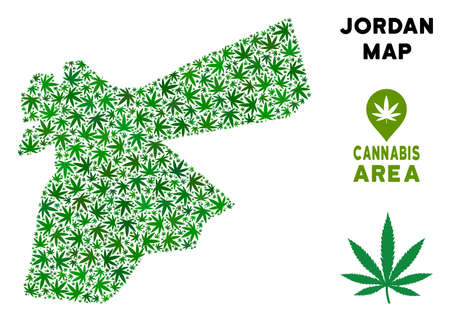 Ganja Jordan map mosaic of marijuana leaves. Narcotic addiction concept. Vector Jordan map is composed of green grass leaves. Abstract area plan in green color tints. Illustration