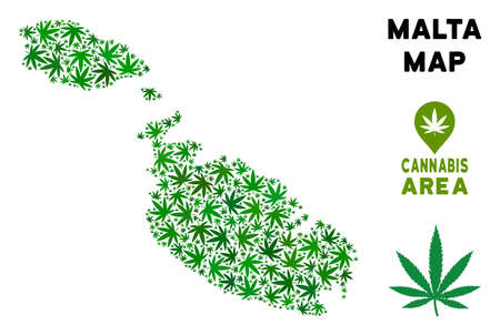 Cannabis Malta Island map composition of marijuana leaves. Narcotic distribution template. Vector Malta Island map is done of green cannabis leaves. Abstract geographic plan in green color shades.