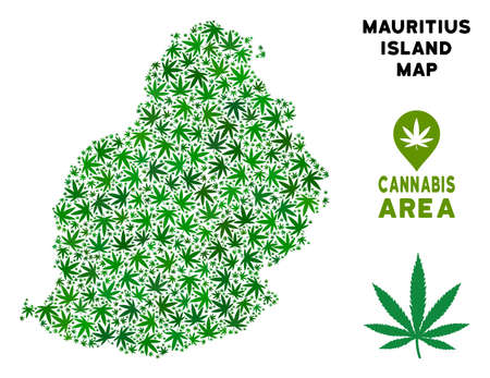 Ganja Mauritius Island map mosaic of marijuana leaves. Narcotic distribution template. Vector Mauritius Island map is done of green ganja leaves. Abstract area scheme in green color variations.